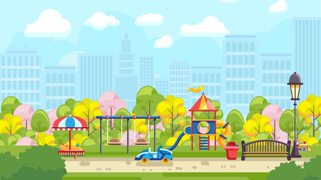 Colorful vector illustration of city playground with urban background Ilustrace