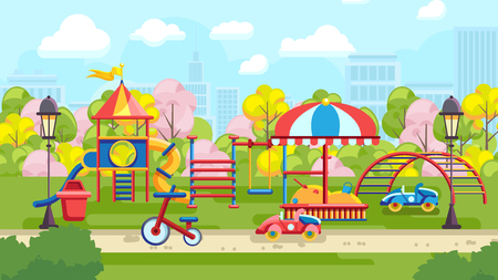 Flat style of colorful playground with kids cars on urban background