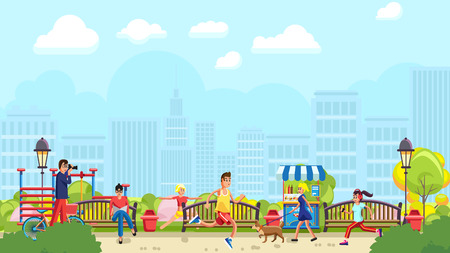 Vector design of people doing sports and spending time in modern green park with urban background 일러스트