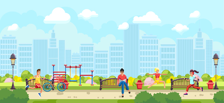Colorful vector of runners and woman with book on bench in city park