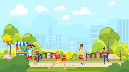 Colorful illustration of people doing sports in green urban park