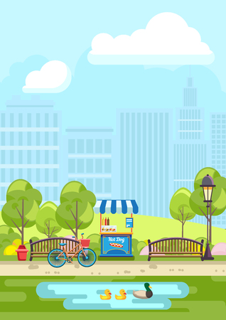 Vector illustration of empty benches with hot dog stall and bicycle near pond in city park Vectores