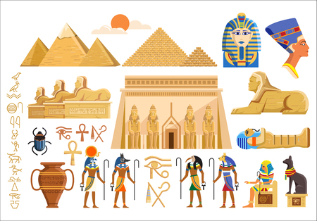 Vector set of various cultural symbols of Egyptian architecture and signs on white background Ilustrace