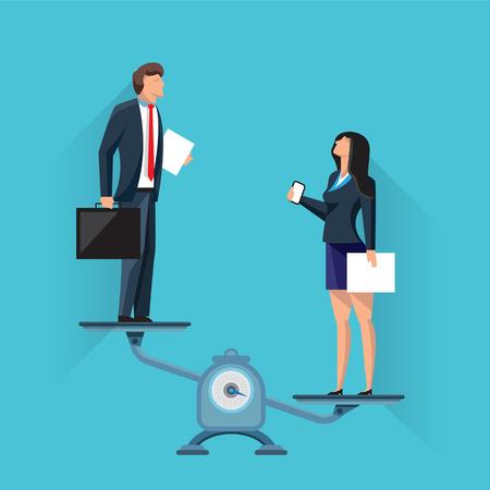 Vektor-Illustration von Geschäftsmann und Geschäftsfrau, die auf Waage im Ungleichgewicht auf blauem Hintergrund stehen Vektorgrafik