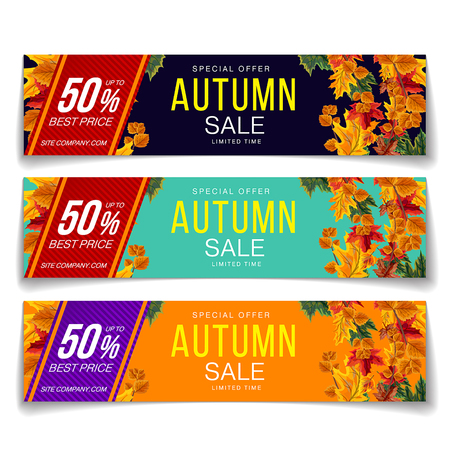 Colorful vector set of vouchers for autumn sale special offer with label of 50 percent off