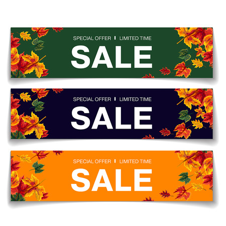 Set of colorful stylish coupons with word Sale and autumnal leaves in design on white background