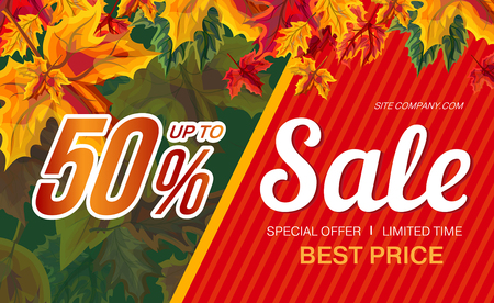 Vector template of banner with promotion of autumn sale and discount up to 50 percent