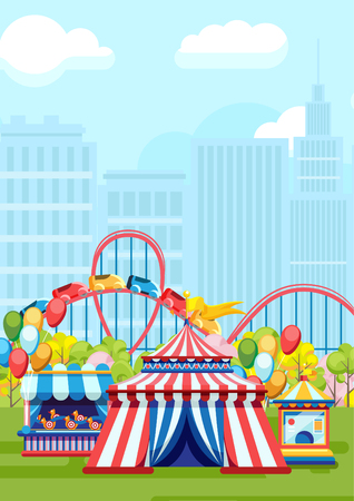 Colorful design of city park with amusements and merry-go-round on urban background