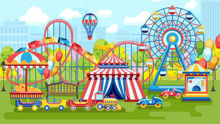 Vector design of entertainment park with Ferris wheel and playground Vectores