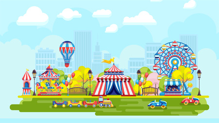 Bright amusement park with Ferris wheel and colorful playground on urban background