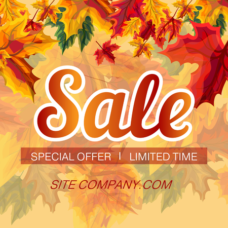 Colorful poster with vivid leaves in design and bright sale promotion on yellow background