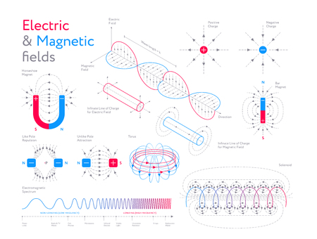 Creative infographic?collection of colorful models showing electric and magnetic fields on white background Ilustração