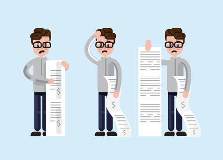 Simple cartoon man in glasses looking scared and depressed while holding long paper bills