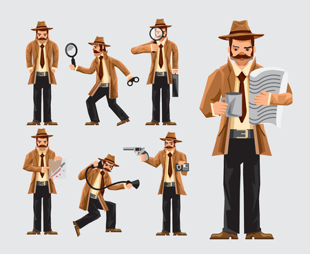 Set of cartoon man doing detective job and investigation on blue background