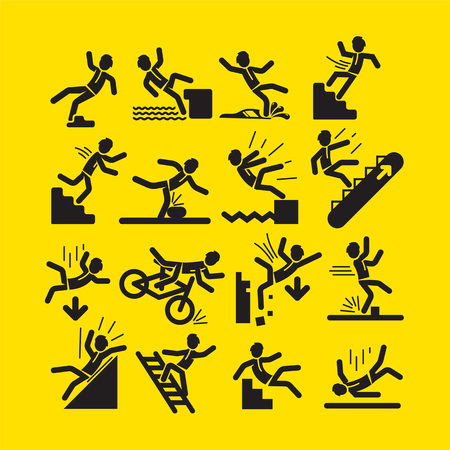 Collection of simple black linear person in situations of falling and injuring as warning signs on yellow background