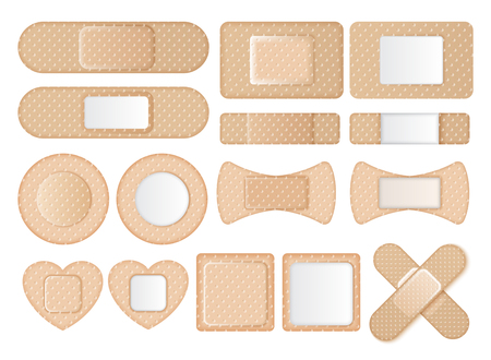 Graphic set of band-aids in different shapes and forms on white background