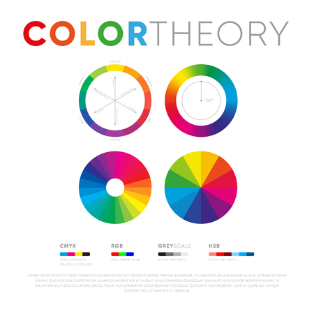 Creative set of various color theory presentation circles on white background