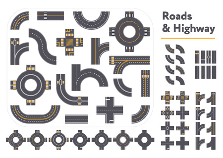 Set of different intersections and road pieces in graphic style isolated on white background Illustration
