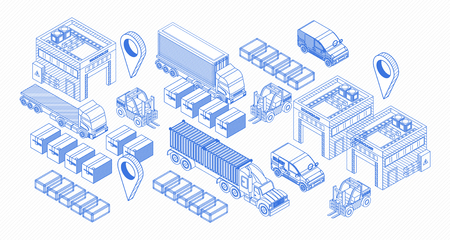 Isometric simple blue icons with various package and containers and transport on white background