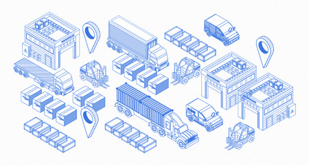 Set of isometric blue icons and elements showing trucks and warehouse of delivery service Ilustração