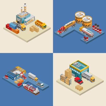 Set isometrischer Vektorillustrationen verschiedener Lastkraftwagen in der Nähe von Fabriken und Lagerhallen Vektorgrafik
