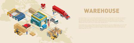 Estructura gráfica del proceso de carga y mercadería en almacén en sistema logístico global