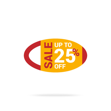 Red and yellow oval banner with up to 25% off offer and sale writing on it Ilustrace