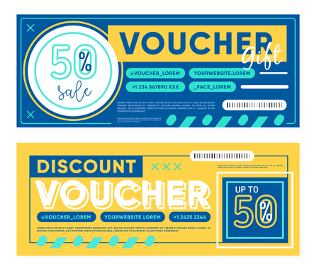 Set of yellow and blue gift vouchers for 50% discount during sale in store 矢量图像