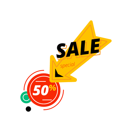 Big yellow arrow with sale inscription pointing at red circle with 50% discount offer Illustration