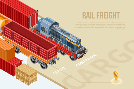Modern isometric design of railway delivery concept with location pin