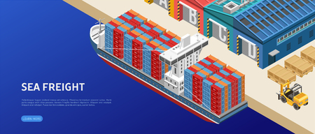 Large freight ship loaded with containers floating near warehouses in cargo port
