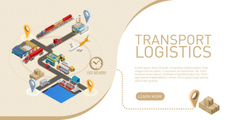 Explanation of transport logistics term near graphic scheme of delivery service for website 向量圖像