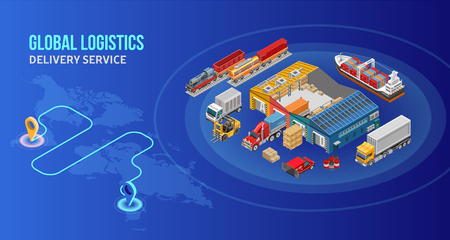 Delivery route depicted on world map near circle with various isometric freight transport and warehouse