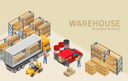 Isometric vector illustration of professional workers loading van and truck with packages in deot of delivery service Vector Illustratie