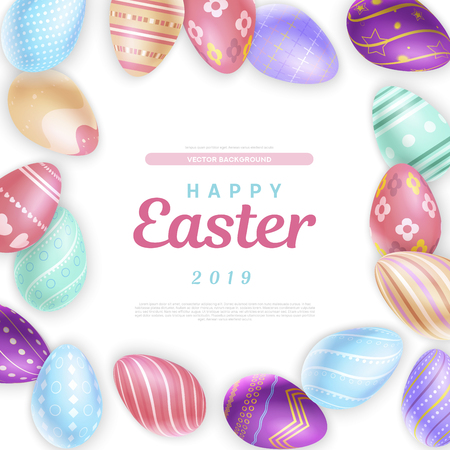 Bunch of beautiful decorated eggs surrounding lovely Happy Easter 2019 writing
