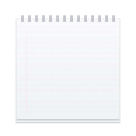 Vector illustration of square spiral notebook with empty ruled pages