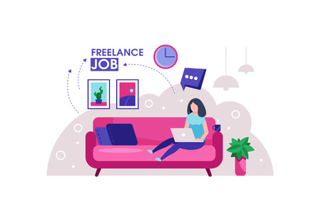 Freelance girl. Woman sitting on the sofa works with laptop, modern freelance template for website. Freelancer girl modern home office design.