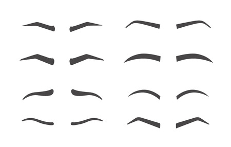 Eyebrow shaping. Makeup tips of eyebrow. Isolated set of different shapes thick ans arch, angle and thin eyebrow on white background. Иллюстрация