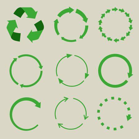 Recycled symbol arrows icon set. Çizim