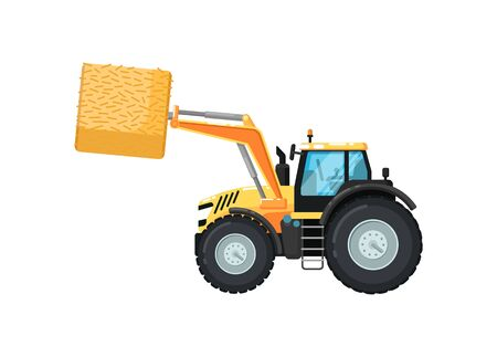 Agriculture tractor hay loader isolated vector illustration. Rural industrial farm equipment machinery, comercial transport, agricultural vehicle in flat design