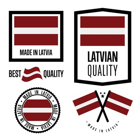 Latvia quality isolated label set for goods. Exporting stamp with latvian flag, nation manufacturer certificate element, country product vector emblem. Made in Latvia badge collection.