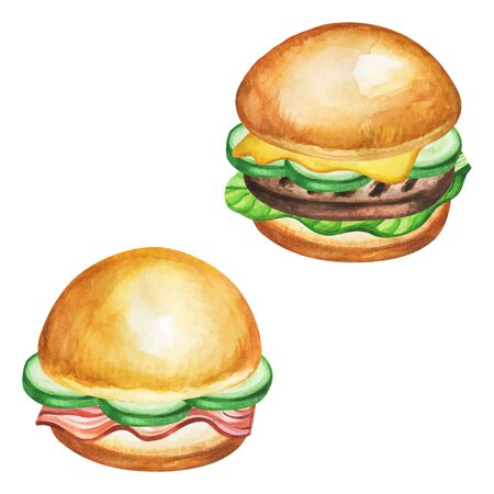 Burger watercolor. Fast food meal on watercolor illustration. Painting burger vector isolated on white background. Aquarelle food for restaurant menu design. Watercolor hand drawn hamburger.