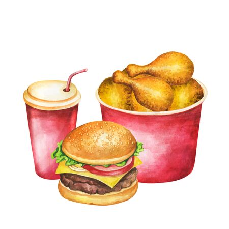 Fast food set watercolor. Isolated fastfood meal on white background. Watercolor burger, chicken wing and soda on fast food set illustration for restaurant menu design.