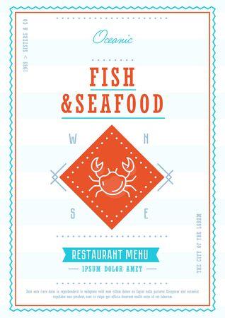 Seafood menu design template vectror 向量圖像