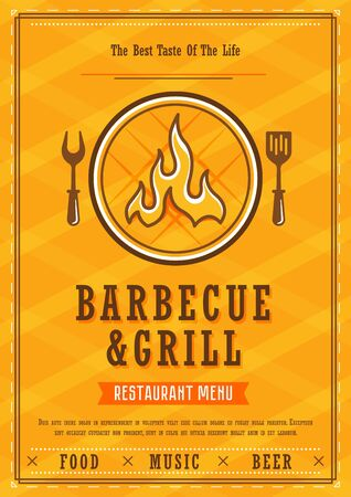 Restaurant menu. Barbecue and grill menu layout design brochure or food flyer template. BBQ brochure, restaurant template design vector illustration.