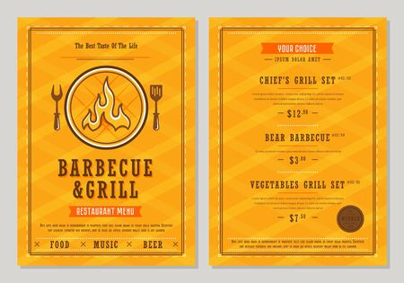 Menu design. Barbecue and grill restaurant menu layout design brochure or food flyer template. BBQ food brochure, cafe template design. Illustration