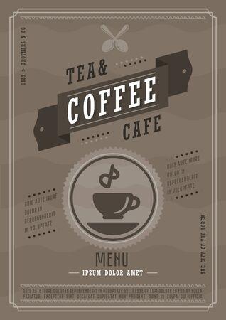 Coffee menu design. Hot drink menu layout design brochure or drink flyer template. brochure, cafe template design vector illustration. Illustration