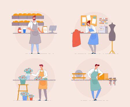 Small business owner. Florist, baker, carpenter. Ilustración de vector