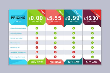 Pricing table design. Simple price list design