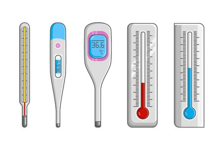 Classic mercury and electronic thermometers.
